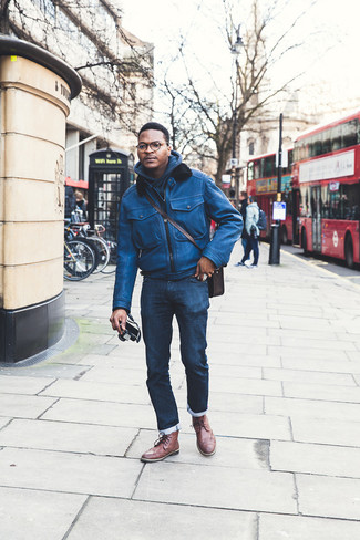 How to Wear a Dark Brown Leather Messenger Bag: Why not consider teaming a blue leather bomber jacket with a dark brown leather messenger bag? Both pieces are very comfortable and will look cool teamed together. If you feel like playing it up a bit now, add a pair of brown leather brogue boots to the mix.