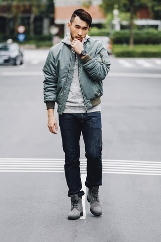 Grey Hoodie Outfits For Men: Nail the casually cool outfit by wearing a grey hoodie and navy jeans. Feeling experimental today? Jazz things up by rocking a pair of grey suede work boots.