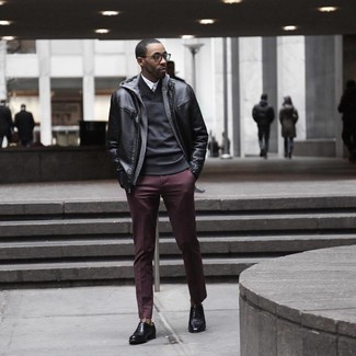 Dress in a black leather bomber jacket and Topman men's Burgundy Wax Coated Wide Leg Chinos for a casual level of dress. And if you want to instantly up the style ante of your look with one piece, add black leather oxford shoes to the equation. Seeing as fall is taking over, this outfit appears a nice pick for the season.