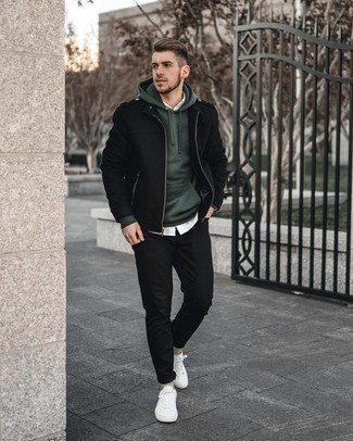 Dark Green Sweater with White Shirt Outfits For Men: A dark green sweater and a white shirt are the kind of a fail-safe casual getup that you need when you have no extra time to dress up. Balance your getup with a sleeker kind of shoes, like this pair of white canvas low top sneakers.