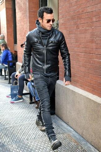 Black Leather Jacket With Hood Women