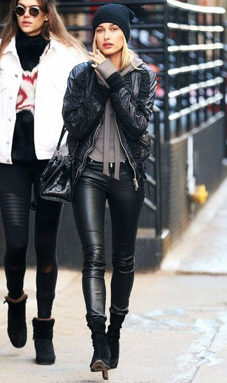 How to wear: black leather bomber jacket, brown hoodie, black leather skinny jeans, black suede ankle boots