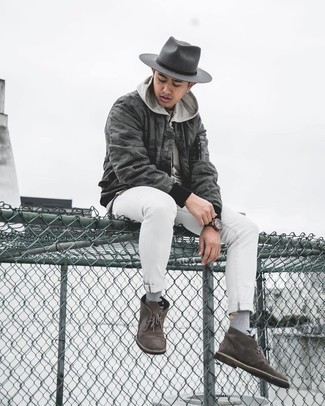Charcoal Wool Hat Outfits For Men: When the setting permits a relaxed outfit, consider pairing a charcoal camouflage bomber jacket with a charcoal wool hat. To add a bit of zing to this outfit, add dark brown suede desert boots to your getup.