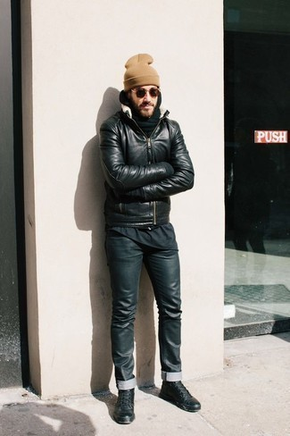 How to Wear a Dark Green Hoodie For Men: Consider pairing a dark green hoodie with black leather jeans for a straightforward getup that's also put together nicely. Black leather high top sneakers are guaranteed to bring a hint of stylish effortlessness to your outfit.