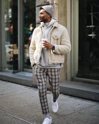 How to wear: beige fur bomber jacket, grey hoodie, white turtleneck, grey plaid dress pants
