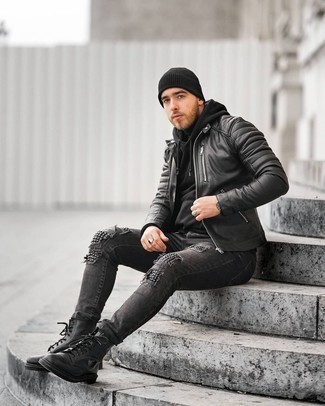 Charcoal Ripped Skinny Jeans Outfits For Men: This laid-back combination of a black quilted leather bomber jacket and charcoal ripped skinny jeans comes to rescue when you need to look nice in a flash. If you need to easily ramp up your ensemble with one single item, why not add black leather casual boots to the mix?