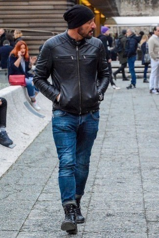 How To Wear Blue Jeans With Black Leather Boots For Men: Make a black leather bomber jacket and blue jeans your outfit choice to put together an incredibly sharp and modern-looking casual ensemble. Black leather boots will level up any ensemble.