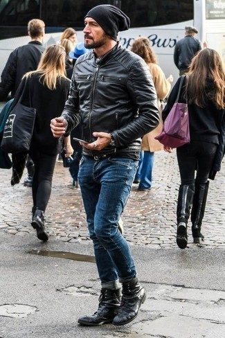 How to Wear Black Leather Casual Boots For Men: Why not opt for a black leather bomber jacket and blue jeans? These pieces are very comfortable and will look great matched together. You could take a more elegant route in the shoe department by rounding off with a pair of black leather casual boots.