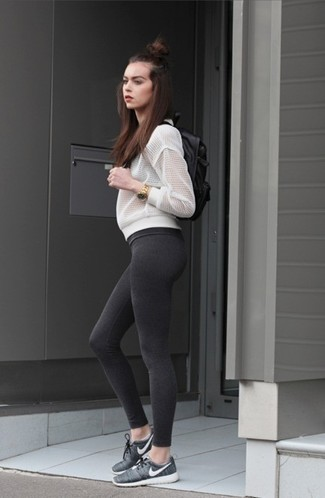Mesh Bomber Jacket Outfits For Women: Undeniable proof that a mesh bomber jacket and charcoal leggings look amazing when you pair them in a relaxed casual outfit. Finishing off with a pair of charcoal athletic shoes is the most effective way to add a hint of playfulness to this look.