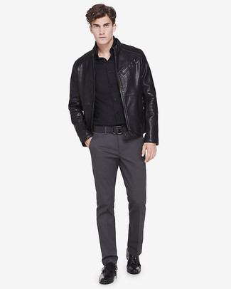 A DSquared Stretch Cotton Poplin Dean Dan Shirt and charcoal chinos is a wonderful combination to add to your styling repertoire. A pair of black leather derby shoes adds more polish to your overall look.  As the mercury drops, you'll discover that an ensemble like this is perfect for fall.