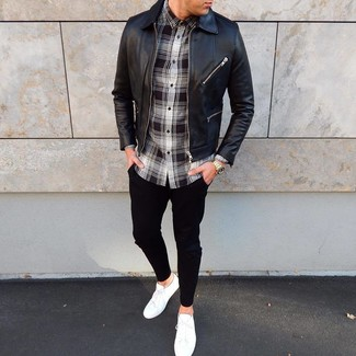 Which Shoes To Wear With Black Chinos: Make a black leather bomber jacket and black chinos your outfit choice for an effortless kind of class. To give your ensemble a more laid-back touch, why not complete your look with white low top sneakers?