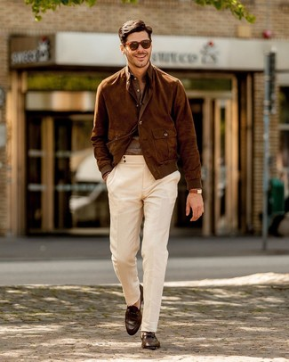 How to wear: brown suede bomber jacket, brown linen long sleeve shirt, white chinos, dark brown leather loafers