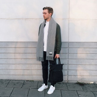 Grey Scarf Outfits For Men: This combination of a dark green bomber jacket and a grey scarf combines comfort and style. White canvas low top sneakers are the simplest way to punch up this look.
