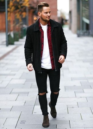 How to wear: black suede bomber jacket, red gingham long sleeve shirt, white crew-neck t-shirt, black ripped skinny jeans