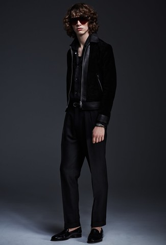 How to wear: black bomber jacket, black long sleeve shirt, black dress pants, black leather loafers