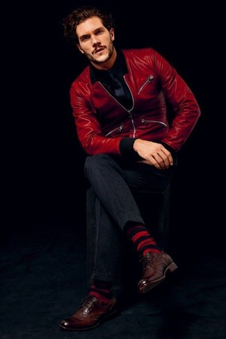 How to wear: red leather bomber jacket, black long sleeve shirt, charcoal dress pants, dark brown leather brogues