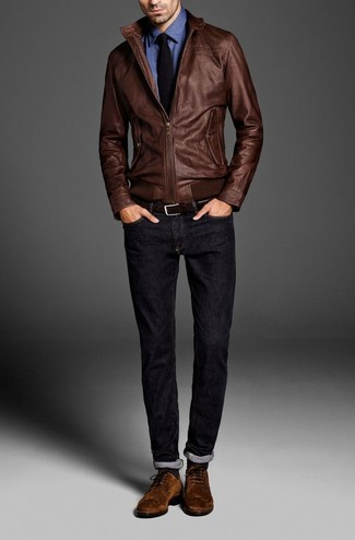 Men's Brown Leather Bomber Jacket, Blue Long Sleeve Shirt, Navy Jeans, Brown Suede Derby Shoes