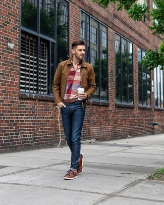 How to wear: brown suede bomber jacket, red plaid long sleeve shirt, navy jeans, brown leather low top sneakers