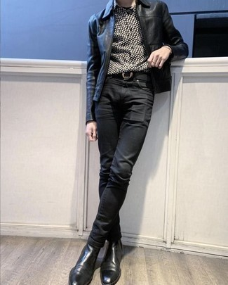 How To Wear a Black Leather Bomber Jacket With Black Jeans For Men: If you're looking to take your casual game to a new level, go for a black leather bomber jacket and black jeans. Get a bit experimental in the shoe department and polish off this look with black leather chelsea boots.