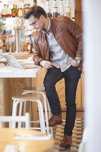 Charcoal Jeans Outfits For Men: For something on the casually edgy side, rock a brown leather bomber jacket with charcoal jeans. If you feel like playing it up, complement your getup with brown leather casual boots.