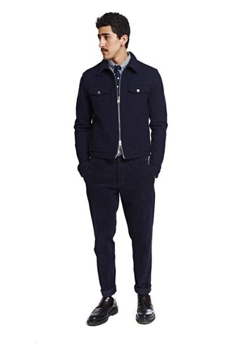 How to wear: navy wool bomber jacket, white and navy vertical striped long sleeve shirt, navy corduroy jeans, black leather derby shoes