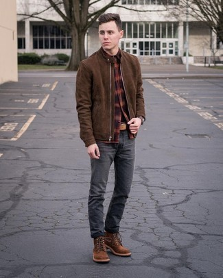 Men's Brown Suede Bomber Jacket, Multi colored Flannel Long Sleeve Shirt, Charcoal Jeans, Brown Suede Casual Boots