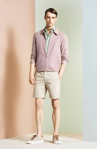 How to wear: pink bomber jacket, mint print long sleeve shirt, beige shorts, beige low top sneakers