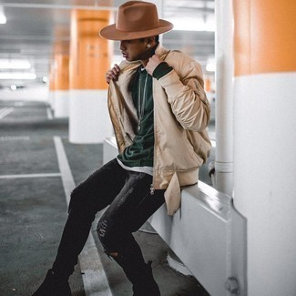 Black Ripped Skinny Jeans Outfits For Men: A beige bomber jacket and black ripped skinny jeans are a nice combination to take you throughout the day. And if you want to immediately step up this ensemble with one single item, why not introduce a pair of black suede chelsea boots to your outfit?