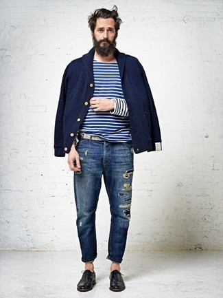How to wear: navy bomber jacket, white and navy horizontal striped long sleeve t-shirt, navy ripped jeans, black leather oxford shoes