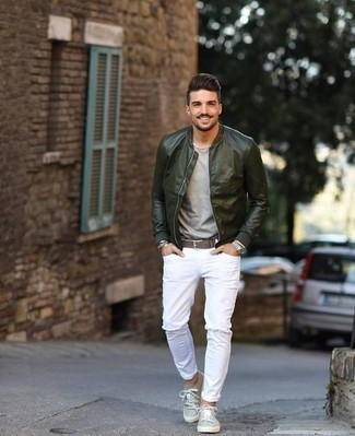 Silver Watch Outfits For Men: Definitive proof that a dark green leather bomber jacket and a silver watch look awesome when you team them together in a casual ensemble. On the fence about how to complement your getup? Finish with grey canvas low top sneakers to lift it up.