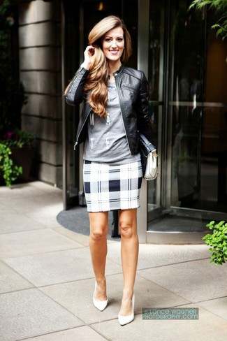 How to wear: black leather bomber jacket, grey print long sleeve t-shirt, grey plaid pencil skirt, white leather pumps