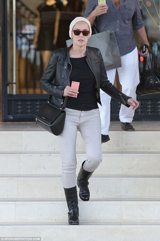 How to wear: black leather bomber jacket, black long sleeve t-shirt, grey skinny jeans, black leather mid-calf boots
