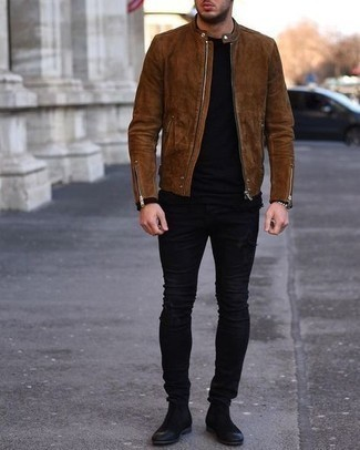 Bomber Jacket with Skinny Jeans Outfits For Men: This off-duty combo of a bomber jacket and skinny jeans is a real lifesaver when you need to look stylish in a flash. Introduce a pair of black suede chelsea boots to the equation for a hint of polish.