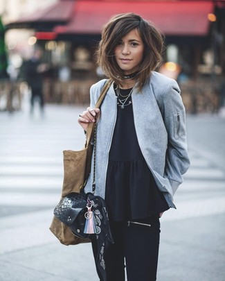 How to wear: grey wool bomber jacket, black peplum top, black skinny jeans, black snake leather crossbody bag