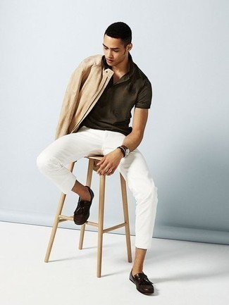 White Chinos Outfits: This laid-back pairing of a beige suede bomber jacket and white chinos is perfect when you need to look casual and cool but have no extra time to plan a look. Up the dressiness of your outfit a bit by slipping into a pair of dark brown leather tassel loafers.
