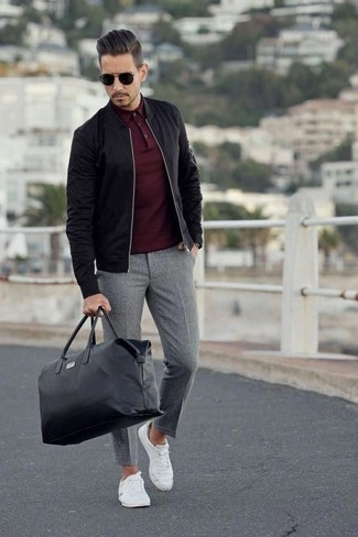 b327133d How to wear: black bomber jacket, burgundy polo, grey wool dress pants,