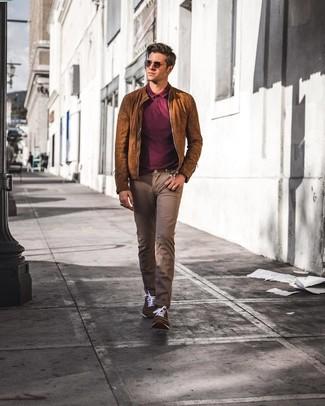 How to wear: brown suede bomber jacket, burgundy polo, brown jeans, dark brown suede low top sneakers