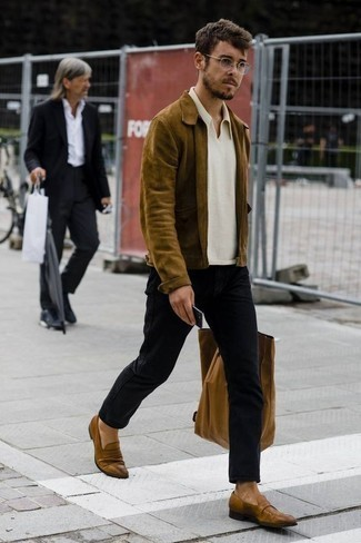 How to Wear a White Polo For Men: Go for a simple yet casually dapper look by opting for a white polo and black jeans. And if you wish to instantly step up your outfit with one item, complete this ensemble with brown leather loafers.