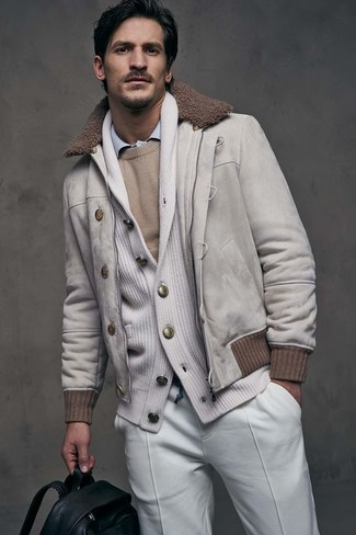 How to wear: beige suede bomber jacket, white shawl cardigan, beige crew-neck sweater, light blue dress shirt