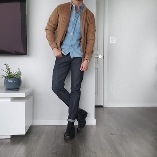 Charcoal Jeans Outfits For Men: If you're scouting for a casual yet seriously stylish look, team a tan bomber jacket with charcoal jeans. Go off the beaten path and jazz up your outfit by rocking black leather casual boots.