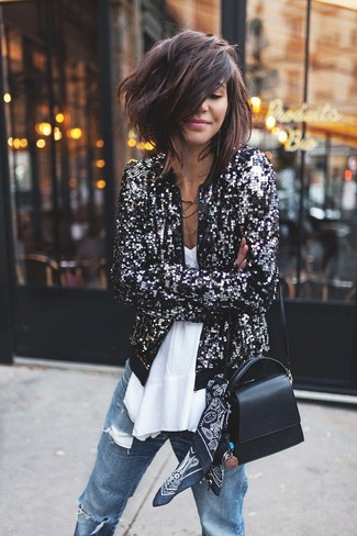 How to wear: black sequin bomber jacket, white chiffon sleeveless top, blue ripped boyfriend jeans, black leather crossbody bag