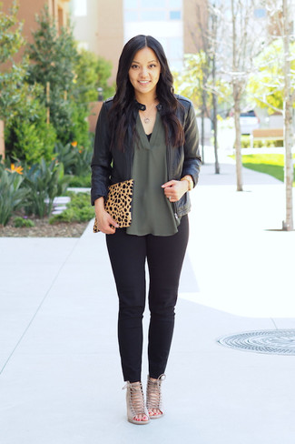 Women's Black Leather Bomber Jacket, Green Silk Sleeveless Top, Black Skinny Pants, Beige Suede Heeled Sandals