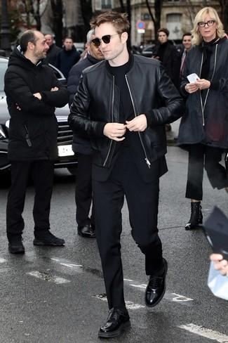 How to wear: black leather bomber jacket, black suit, black crew-neck t-shirt, black leather derby shoes