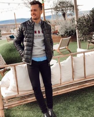 Black Skinny Jeans Outfits For Men: A black quilted leather bomber jacket and black skinny jeans are a cool combo to have in your current wardrobe. If you want to effortlessly up your look with one piece, why not complement your getup with black leather chelsea boots?