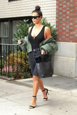 How to wear: olive bomber jacket, black knit tank, black denim bermuda shorts, black suede heeled sandals
