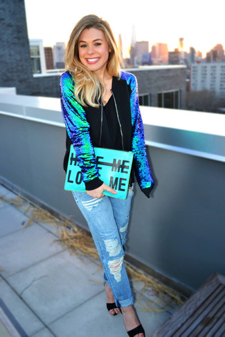 A blue sequin bomber and baby blue ripped boyfriend jeans will convey a carefree, cool-girl vibe. Take a classic approach with the footwear and go for a pair of black suede heeled sandals.