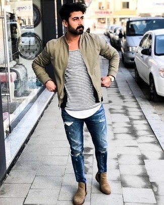 Beige Leather Watch Outfits For Men: If you gravitate towards casual getups, why not consider this combination of an olive bomber jacket and a beige leather watch? To add a bit of classiness to this ensemble, add tan suede chelsea boots to the mix.