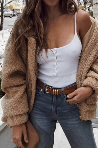 How to wear: tan fleece bomber jacket, white tank, blue jeans, brown leather crossbody bag