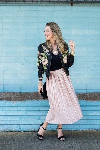 How to wear: black floral bomber jacket, black tank, pink pleated midi skirt, black suede heeled sandals