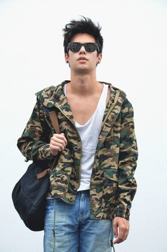 How to wear: olive camouflage bomber jacket, white tank, blue ripped shorts, black canvas backpack